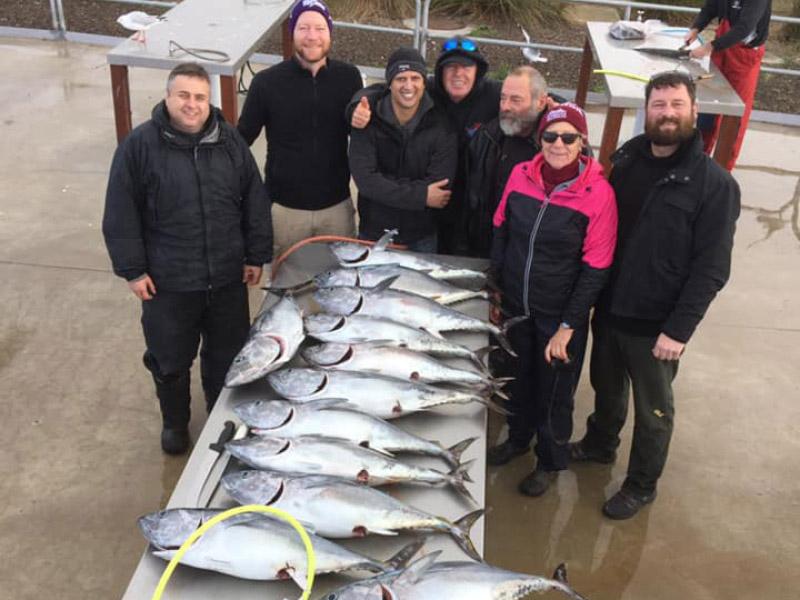 happy bagout tuna fishing charter goers